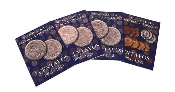 4 Albumes Para Monedas Argentinas Niquel Toritos +50 Monedas