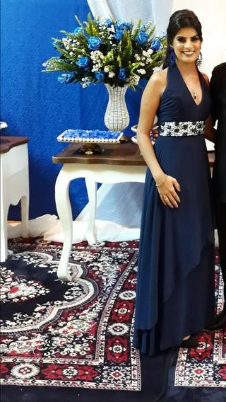 Vestido Longo Pedraria Dolps Azul Marinho