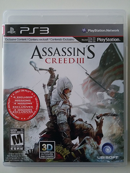 Assassins Creed 3 Ps3 Mídia Física Original Legendado Usado