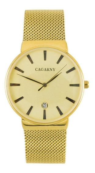 Reloj Cagarny Duo En Dorado De Metal Modelo Unisex