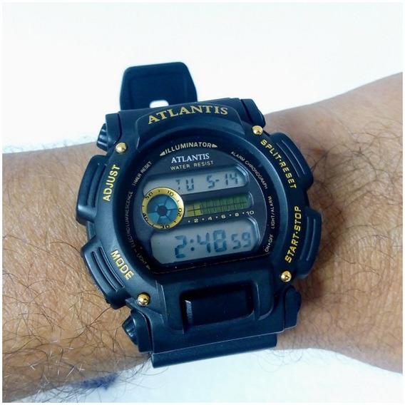 Relógio Digital Esportivo Original Preto Prov Dágua Atlantis