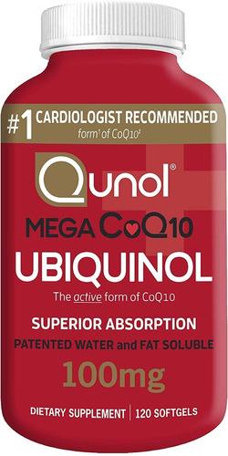 Coenzima Qunol Mega Coq10 Ubiquinol 100 Mg - 120 Cápsulas