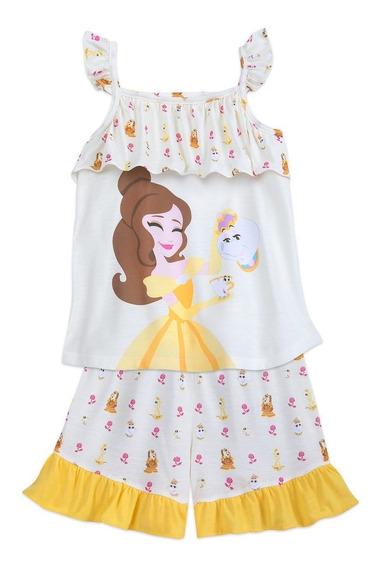 Set Pijama Bella Y Bestia Disney Store Talle 3 - Verano