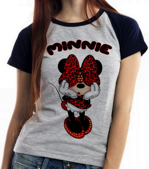Blusa Baby Look Minnie Mouse Tope Namorada Mickey Disney