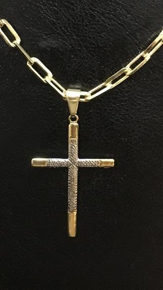 Corrente Folheado Ouro Cartier 70cm Pingente Cruz