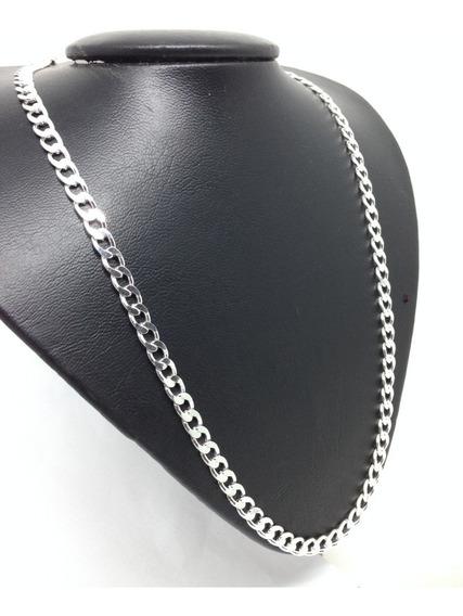 Cordão + Pulseira Corrente Grumet Masculina Prata 925 60cm