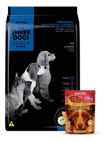 Imagen 1 de 3 de Threedogs Super Premium Cachorro Mediana Y Grande 3kg + Rega