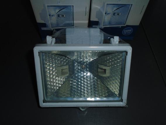 Refletor Halogena 150w Branco - Kit C/ 4 Peças