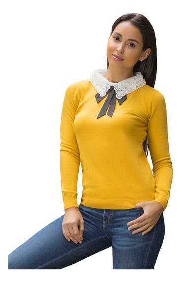 Suéter Ligero Tipo Blusa Aplicación Encaje Y Moño 9237