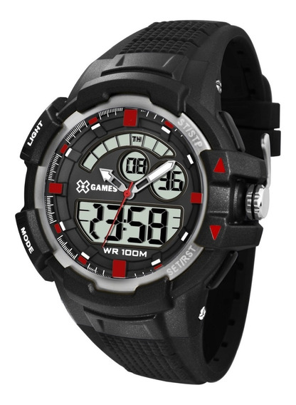 Relógio X-games Masculino Anadigi Xmppa231 Preto Vermelho