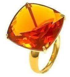 Conjunto Anel E Brincos Ouro Amarelo Com Citrino Mod. Cj1468