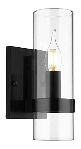 Lámpara De Pared Negra Contemporánea Para Baño, Dormitorio.