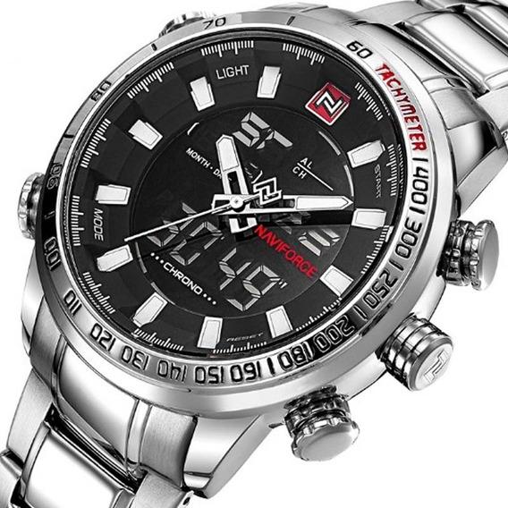 Relógio Naviforce 9093 Prata Esporte Casual De Luxo