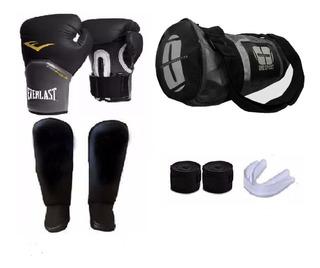 Kit Muay Thai Luva Everlast + Bolsa Bandagem 5 M Acessórios