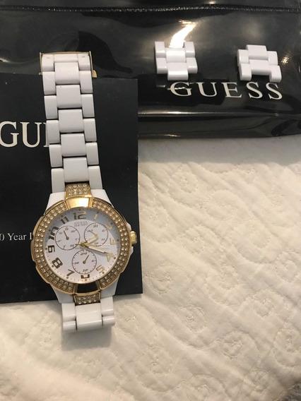 Relógio Guess Dourado Com Branco