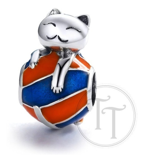 Charm Gato Pelota Plata Esterlina 925 9.5 Mm