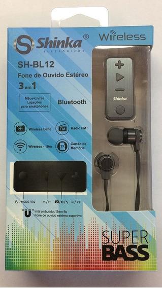 Fone De Ouvido Wireless Bluetooth C/ Radio Fm Cartão Sd Bl12