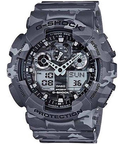 Relógio Masculino G-shock Camuflado Cinza E Preto Casio