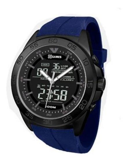 Relógio Masculino Digital E Analógico Negativo Preto E Azul X-games Aço Inoxidável Resistente À Água Original + Nf