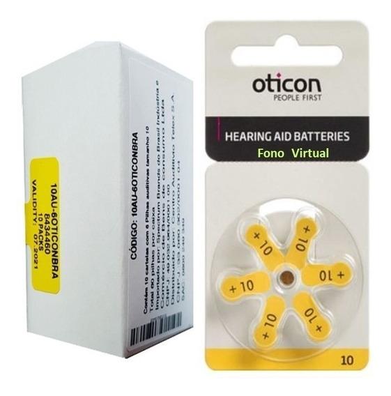 Bateria Auditiva 10 Oticon Ag10 60 Pilhas