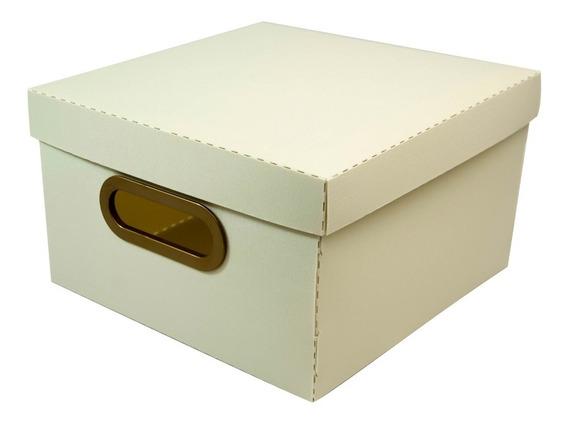 Caixa Organizadora Linho Grande 35x35x16cm Cinza