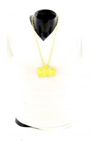 Collar Placa 100 Dolares Color Oro