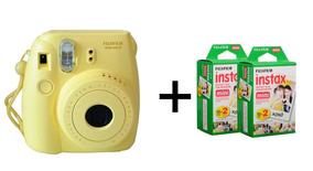 Câmera Fujifilm Polaroid Amarela + 2 Pacotes De Filme