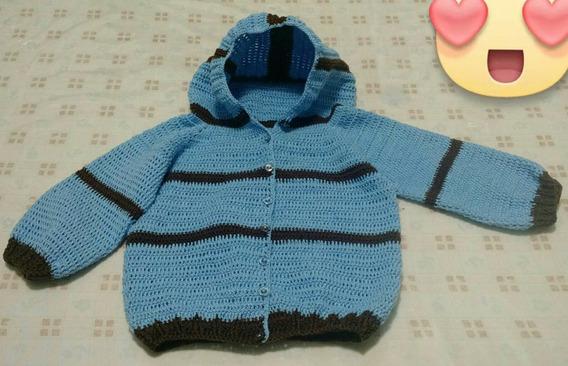 Casaco Infantil Em Crochê Com Capuz Tam. 9 A 12 Meses.