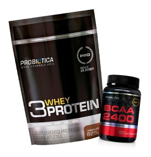Whey 3w 825g Probiótica Concentrada/isolada/hidrolisada+bcaa