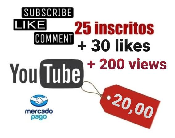 Kit 25insritos, 200 Views + 25likes,de Tripe E Luzes Youtube