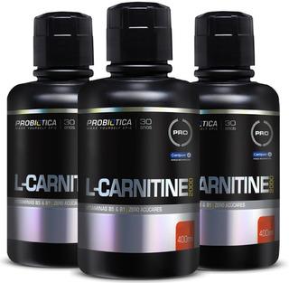 03 L-carnitine Líquida 400ml Probiótica 12x S/ Juros + Frete