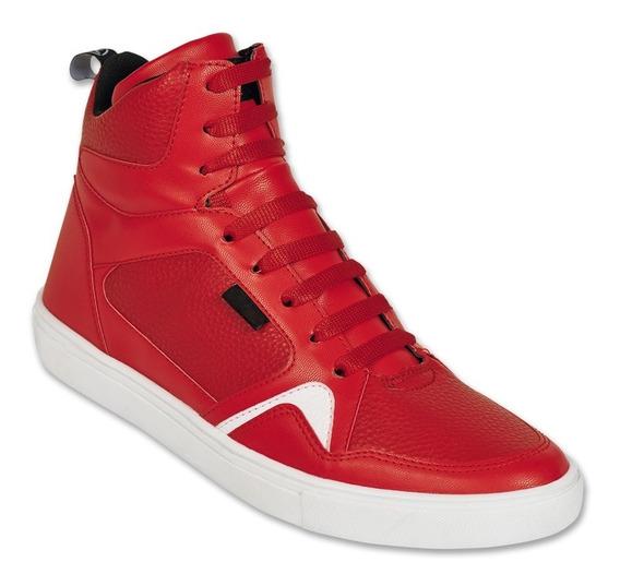 Calzado Hombre Caballero Tenis Botín Tipo Piel Rojo Comodo