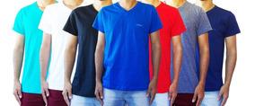 Kit 6 Camisa Camiseta Gola V Lisa Algodao Slim Fit
