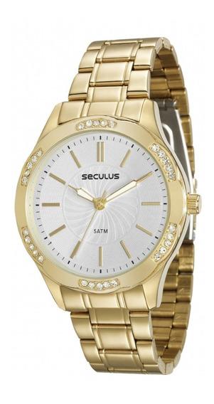 Relógio Seculus Feminino Dourado 23582lpsvds1 Original