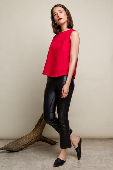 Camisa De Lino Roja Nueva De Mujer
