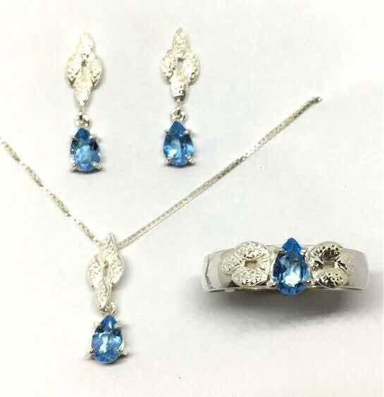 Conjunto Topazio Azul Natural Anel Br Ping Prata 925 (ok)
