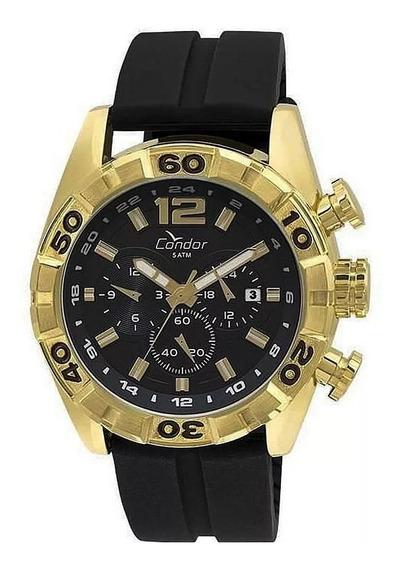 Relógio Masculino Dourado Preto Grande Condor 18k Original