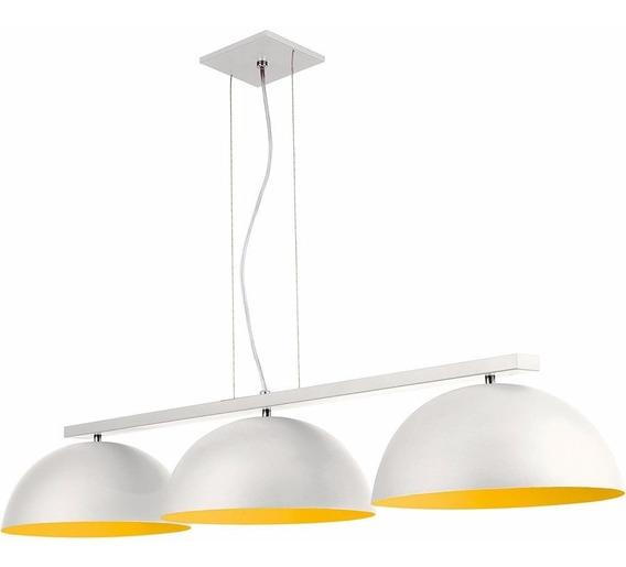 Luminária Pendente Branco Amarlo Lustre Teto Cúpula Promoção