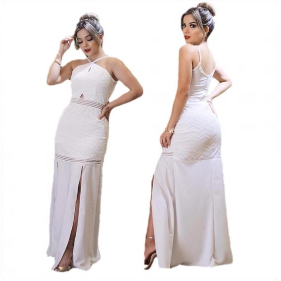 Vestido Longo Com Fenda Alfaiataria Feminina Festa Vafl2