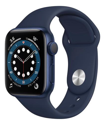 Imagen 1 de 8 de Apple Watch  Series 6 (GPS) - Caja de aluminio azul de 40 mm - Correa deportiva azul marino intenso