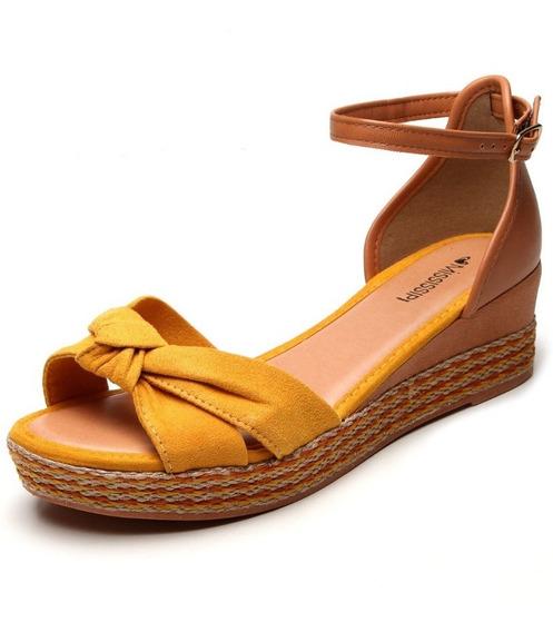Sandália Mississipi Nó Amarela Flatform Anabela Corda Q0983