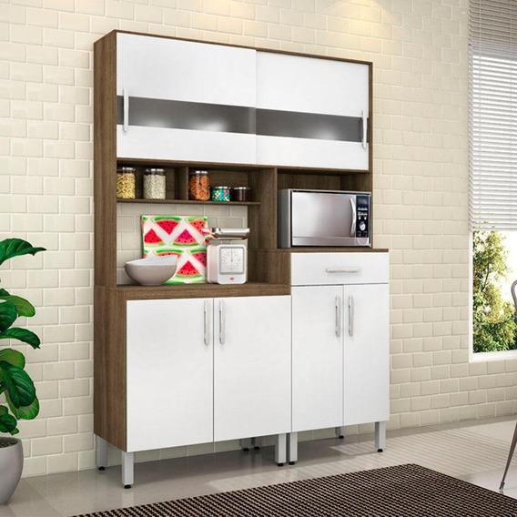 Armário De Cozinha Bianca 6 Portas 1 Gaveta Terraro/branco