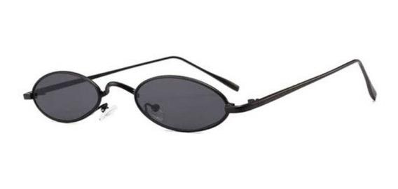 Óculos Oval Retro Redondo Pequeno Trap Hype Vermelho Preto + Case