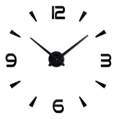 Reloj De Pared 3d Grande Negro Diseño Moderno