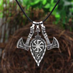 Colar Vikings Viking Machado Escudo Mjolnir