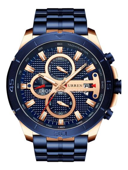 Relógio Masculino Curren Azul E Dourado 8337