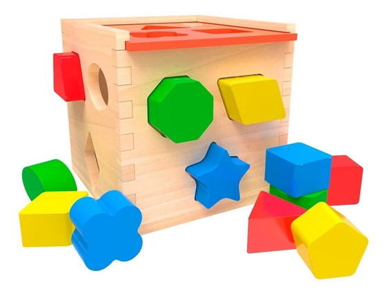 Cubo Ensarte Formas Y Figuras Para Bebe 12 Piezas