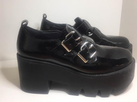 Borcegos Zapatos Botineta Charol Con Plataforma Paruolo T 35
