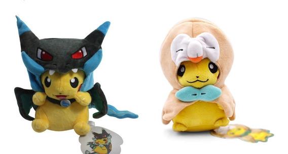 Kit Pelúcia Pokemon Pikachu Mega Charizard Cosplay 2 Pçs
