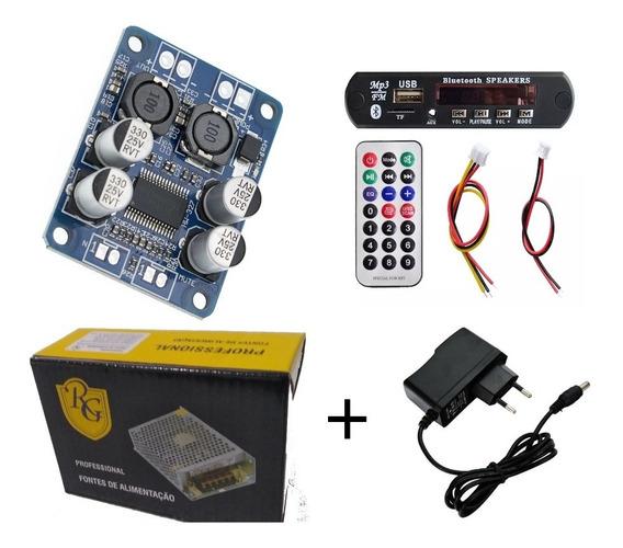 Amplificador Kit 60wrms 1canal Com Player+fontes+instruções